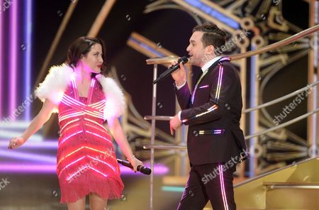 Singers Bianca Nicholas (l) and Alex Larke of the Duo Electro Velvet Representing the United Kingdom Perform During Rehearsals For the Grand Final of the 60th Annual Eurovision Song Contest (esc) at the Wiener Stadthalle in Vienna Austria 22 May 2015 the Grand Final Takes Place on 23 May Austria Vienna