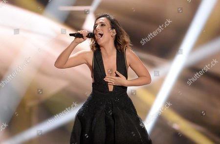 Singer Elhaida Dani Representing Albania Performs During Rehearsals For the Grand Final of the 60th Annual Eurovision Song Contest (esc) at the Wiener Stadthalle in Vienna Austria 22 May 2015 the Grand Final Takes Place on 23 May Austria Vienna