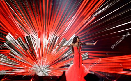 Stock Image of Singer Aminata Savadogo Representing Latvia Performs During the Grand Final of the 60th Annual Eurovision Song Contest (esc) at the Wiener Stadthalle in Vienna Austria 23 May 2015 There Are 27 Finalists From As Many Countries Competing in the Grand Final Austria Vienna