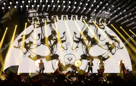 Singer Ann Sophie (2-r0 Representing Germany Performs During the Grand Final of the 60th Annual Eurovision Song Contest (esc) at the Wiener Stadthalle in Vienna Austria 23 May 2015 There Are 27 Finalists From As Many Countries Competing in the Grand Final Austria Vienna