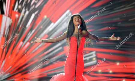 Stock Picture of Singer Aminata Savadogo Representing Latvia Performs During Rehearsals For the Grand Final of the 60th Annual Eurovision Song Contest (esc) at the Wiener Stadthalle in Vienna Austria 22 May 2015 the Grand Final Takes Place on 23 May Austria Vienna