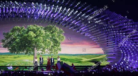 Stock Picture of Boggie (c) Representing Hungary Performs During the Grand Final of the 60th Annual Eurovision Song Contest (esc) at the Wiener Stadthalle in Vienna Austria 23 May 2015 There Are 27 Finalists From As Many Countries Competing in the Grand Final Austria Vienna