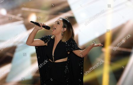 Singer Elhaida Dani Representing Albania Performs During the First Semi-final of the 60th Annual Eurovision Song Contest (esc) at the Wiener Stadthalle in Vienna Austria 19 May 2015 the Second Semi-final Takes Place on 21 May and the Grand Final on 23 May Austria Vienna