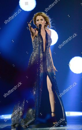 Maria Elena Kyriakou Representing Greece Performs During the First Semi-final of the 60th Annual Eurovision Song Contest (esc) at the Wiener Stadthalle in Vienna Austria 19 May 2015 the Second Semi-final Takes Place on 21 May and the Grand Final on 23 May Austria Vienna