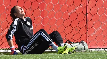 Germanys Goalkeeper Nadine Angerer Laugh During a Training Session at the Richcraft Recreation Complex in Ottawa Canada 04 June 2015 Canada Ottawa