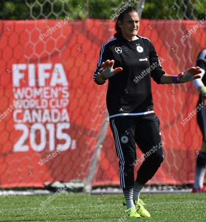 Germanys Goalkeeper Nadine Angerer Reacts During a Training Session at the Richcraft Recreation Complex in Ottawa Canada 04 June 2015 Canada Ottawa