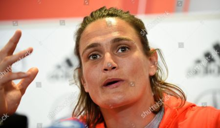 Germany's Goalkeeper Nadine Angerer Speaks During a Press Conference at the Shaw Centre in Ottawa Canada 04 June 2015 Germany's National Soccer Team Prepares For the Fifa Women's World Cup 2015 Canada Ottawa