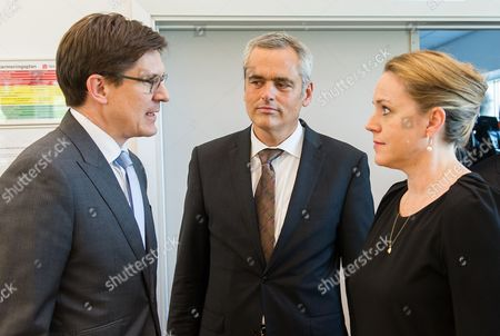 (l-r) Ole Schroeder Parliamentary Secretary of State in the Federal Interior Ministry Andreas Breitnee Interior Minister of Schleswig-holstein and Danish Minister For Justice Karen Haekkerup Talk During a Press Conference in Padborg Denmark 02 September 2014 in the Future German and Danish Police Will Patrol the Border Area Together Denmark Padborg