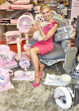 Princess Maja Von Hohenzollern Holds Dog Woelkchen As She Presents Her New Pet Products at the Pet Expo (htm)áat the Velodrom in Berlin Germany 01 November 2014 a Portion of Procedes From the Products Goes to Animal Protection Germany Berlin