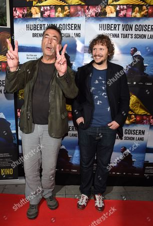 Austrian Musician Hubert Von Goisern (l) and Compatriot Director and Screenwriter Marcus H Rosenmueller Arrive For the German Premiere of the Film 'Hubert Von Goisern - Brenna Tuat's Schon Lang' (lit: Hubert Von Goisern - Burning For a Long Time) in Munich Germany 14 April 2015 the Movie Opens Across German Theaters on 23 April Germany Munich