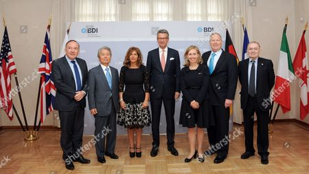 Stock Image of The President of Medef (mouvement Des Enterprises De France) Pierre Gattaz (l-r) the President of Keidanren (nippon Keizai Dantai Rengokai) Sadayuki Sakaibara the President of Buisnesseurope Emma Marcegaglia Bdi-president Ulrich Grillo the Director of the Canadian B7 Delegation Monique Leroux the Representative of the U S Chamber of Commerce David M Cote and the President of Confindustria (confederazione Generale Dell' Industria Italiana) Giorgio Squinzi Pose During a Meeting of Presidents of the G7 Economic Associations the B7 at the G7 Summit in Elmau in Berlin ágermany 20 May 2015 Germany Berlin