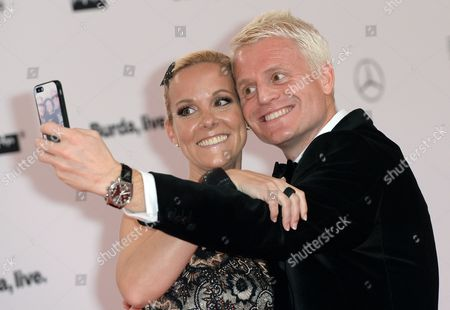 German Television Presenter Guido Cantz and His Wife Kerstin (r) Take a Selfie As They Arrive to the Bambi Awards at the Stage Theater on Potsdamer Platz in Berlin ágermany 13 November 2014 the Bambis Are the Main German Media Awards and Are Presented During a Gala Hosted by Hubert Burda Later in the Evening For the 66th Time Germany Berlin