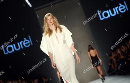 Stock Photo of German Model Katrin Thormann Presents a Creation of German Label Laurel During the Mercedes-benz Fashion Week in Berlin Germany 19 January 2015 During the Berlin Fashionáweek the Collections For Fall/winter 2015 Are Presented the Event Runs From 19 to 23 January Germany Berlin