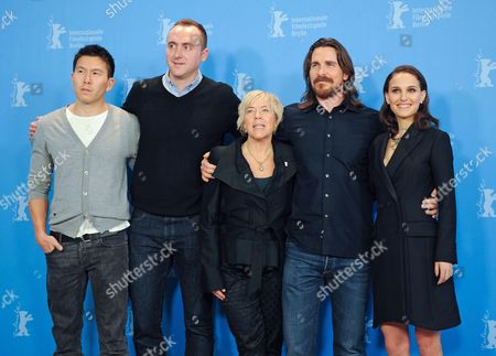 Producers Ken Kao (l-r) Nicolas Gonda and Sarah Green Pose with British Actor Christian Bale and Us Actress Natalie Portman During a Photocall For 'Knight of Cups' at the 65th Annual Berlin Film Festival in Berlin Germany 08 February 2015 the Movie is Presented in the Official Competition of the Berlinale Which Runs From 05 to 15 February 2015 Germany Berlin