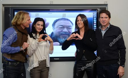 German Producer Claus Clausen (l-r) Actress Laila Maria Witt Chinese Artist Ai Weiwei (on Screen Via Skype From Peking) Producers Edda Reiser and Josef Steinberger Pose During a Press Conference on the Short Film 'Berlin i Love You' in Berlin Germany 04 February 2015 the 57-year-old Artist is Supposed to Accompany the Production Process by Directing From Abroad Germany Berlin