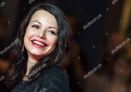 Stock Image of German Actress/cast Member Cosma Shiva Hagen Smiles During the Premiere of 'Maennerhort' in Frankfurt Am Main Germany 21 September 2014 the Movie was Shot in Frankfurt Germany Frankfurt Am Main