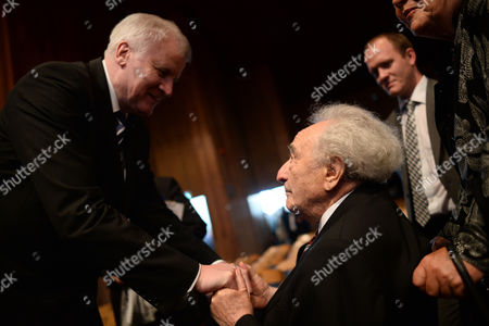 Bavaria Premier Horst Seehofer (l) Talks with Holocaust Survivor Max Mannheimer Following the Opening Ceremony of the Munich Documentation Centre For the History of National Socialism in Munich Germany 30áapril 2015 the Munich Documentation Centre For the History of National Socialism Opens 01 May and is Located at the Site of the Former Brown House the National Socialst Party Headquarters Germany Munich