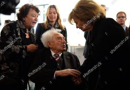 Holocaust Survivor Max Mannheimer (c) Talks with Charlotte Knobloch (r) President of the Jewish Community in Munich Following the Opening Ceremony of the Munich Documentation Centre For the History of National Socialism in Munich Germany 30áapril 2015 the Munich Documentation Centre For the History of National Socialism Opens 01 May and is Located at the Site of the Former Brown House the National Socialst Party Headquarters Germany Munich