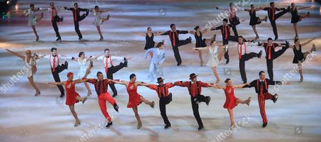 German Former Medal Winning Figureskater Norbert Schramm (c) Performs Amongst Other Figureskaters During the Premiere of 'Holiday on Ice' at the Getec-arena in Magdeburg Germany 27 November 2014 the Ice Revue Tours in Ten German Cities Germany Magdeburg