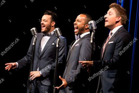 Stock Picture of Vintage Vegas Singers (l-r) Giovanni Zarrella Inan Lima and Tom Marks Perform at the Presentation of the New 'Holiday on Ice' Production 'Passion' in Hamburg Germany 02 September 2014 the New Show Starts on 27 November Germany Hamburg