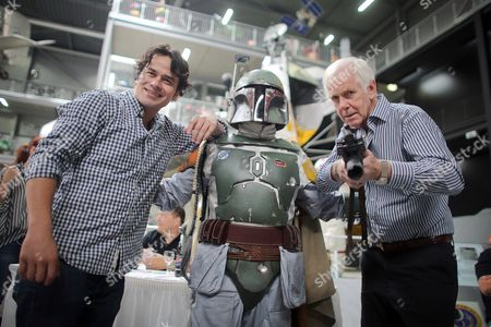 Star Wars Actors Jeremy Bulloch (r) and Daniel Logan (l) Pose with a Fan Dressed As Boba Fett on the Occasion of the Science Fiction Meeting at the Technique Museum in Speyer Germany 27 September 2014 the 7th 'Fiction Meets Reality' Event Runs on 27 and 28 September Germany Speyer