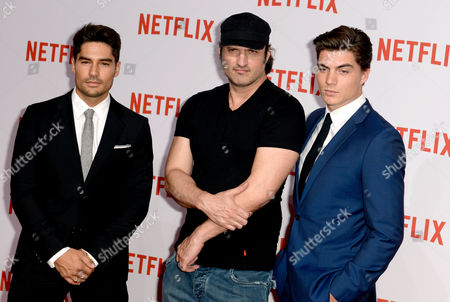 From (l-r) D J Cotrona Us Director Robert Anthony Rodriguez and Canadian-born Actor Zane Holtz Arrive For the Netflix Party in Berlin Germany 16 September 2014 Netflix Offers Internet Video-on-demand Streaming For a Monthly Subscription Fee Germany Berlin