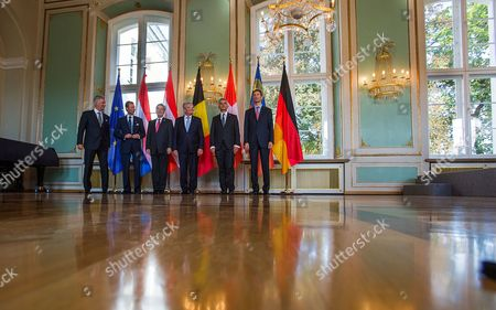Germanápresident Joachim Gauck Stands Together with King Philippe of Belgium (l-r) Grand Duke Henri Ofr Luxemburg Austrian President Heinz Fischer Swiss President Didier Burkhalter and Crown Prince Alois Von Und Zu Liechtenstein During the 11th Meeting of the German-speaking Heads of State in Bad Doberan Germany 18áseptember 2014 They Are Discussing Questions About Democratic Change and Remembering the Peaceful Revolution in East Germany 25 Years Ago at the Informal Meeting Germany Bad Doberan