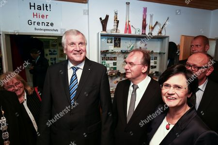 Prime Ministers of Federal States Bavaria Horst Seehofer (l-r) Saxony-anhalt Reiner Haseloff and Thuringia Christine Lieberknecht Look Around During a Commemorative Ceremony on the Occasion of the 25th Anniversary of the Fall of the Berlin Wall in the Bavarian Border Museum in Schirnding Germany 03 November 2014 Germany Schirnding