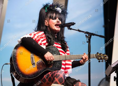 Stock Image of German Singer Nina Hagen Performs During the Renewable Literature Festival Held in Honor of Late German Author Guenter Grass at the Ohnsorg-theater in Hamburg Germany 26 April 2015 Germany Hamburg
