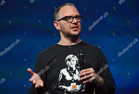 Stock Image of Canadian Blogger and Author Cory Doctorow Speaks at the Re:publica Internet Conference Ináberlin ágermany 06 May 2015 the Media Convention Runs From 05 to 07 May 2015 Germany Berlin