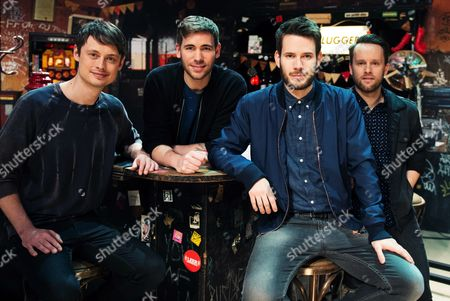 Members of the Band Revolverheld Jakob Sinn (l-r) Chris Rodriguez Johannes Strate and Kristoffer Huenecke Pose on Stage in Front of the Mtváunplugged Setting in the Friedrich Ebert Hall in Hamburg Germany 08 April 2015 the Performance Will Be Broadcasted in Autumn 2015 Germany Hamburg