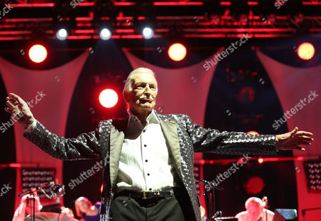 Stock Image of The Bandleader Composer and Record Producer James Last and His Orchestra Perfom at the O2 World Hamburg Germany 26 March 2015 James Last is on His Farewell Tour in His Hometown of Hamburg the Tour Ends on 26 April in Cologne Germany Hamburg