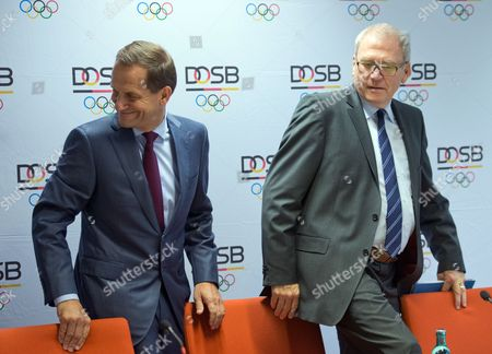 Stock Image of Alfons Hoermann (l) President of the German Olympic Sports Federation (dosb) and Dosbádirector General Michael Vesper (r) Arrive For a News Conference in Neu-isenburg Germany 28áoctober 2014 the Dosb Will Bid For the 2024 Summer Games the Organization Said 28 October But No Decision Has Been Made on Whether Berlin Or Hamburg Will Be Put Forward the Decision was Made to Bid For 2024 at a Dosb Executive Board Meeting But a Later Bid For 2028 Has not Been Ruled out Germany Neu-isenburg
