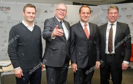 Stock Image of (l-r) Vice President of the German Olympic Sports Confederation (dosb) Ole Bischof Dosbádirector General Michael Vesper Dosbápresident Alfons Hoermann and Dosbáboard Member Bernhard Schwank Pose For Photographers During a Press Conference in Neu-isenburg Germany 10 March 2015 the Dosb Presented the Results of an Opinion Poll in the Two German Bid Cities For the 2024 Summer Olympics Berlin and Hamburg Germany Neu-isenburg