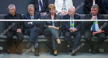 Roland Jahn (l-r) Federal Commissioner For the Records of the State Security Service of the Former German Democratic Republic (gdr) Former Governing Mayor of Berlin Eberhard Diepgen First Freely Elected Gdráparliament President Sabine Bergmann-pohl the Last Gdráprime Minister Lothar De Maiziere and Former German Transport Minister Guenther Krause at the Public Gallery of the German Parliament in Berlin Germany 18 March 2015 the Group Watched the Parliamentary Debate Commemorating the First Free Parliamentary Elections of the Gdr on 18 March 1990 Germany Berlin