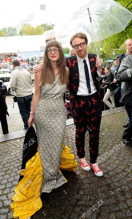 British Fashion Designer Philip Colbert (r) and His Wife Charlotte Arrive For the Wedding of Princess Maria Theresia of Thurn and Taxis and Hugo Wilson at St Joseph's Church in Tuzingen Germany 13 September 2014 Germany Tutzing
