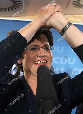 Stock Photo of Christian Democrats (cdu) Top Candidate and Incumbet Thuringian Prime Minister Christine Lieberknecht (c) Reacts to the First Results of the State Election in Erfurt Germany 14 September 2014 a Newcomer Party That Opposes Euro Bailouts the Alternative For Germany (afd) Won More Than 10 Cent of the Votes in Two German State Elections Television Exit Polls Said Chancellor Angela Merkel's Christian Democratic Union (cdu) was the Victor in the Central State of Thuringia with 34 Per Cent of Votes Ard Television Said As Official Vote Counting Began Germany Erfurt