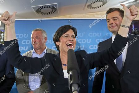 Stock Image of Christian Democrats (cdu) Top Candidate and Incumbet Thuringian Prime Minister Christine Lieberknecht (c) Reacts to the First Results of the State Election in Erfurt Germany 14 September 2014 a Newcomer Party That Opposes Euro Bailouts the Alternative For Germany (afd) Won More Than 10 Cent of the Votes in Two German State Elections Television Exit Polls Said Chancellor Angela Merkel's Christian Democratic Union (cdu) was the Victor in the Central State of Thuringia with 34 Per Cent of Votes Ard Television Said As Official Vote Counting Began Germany Erfurt