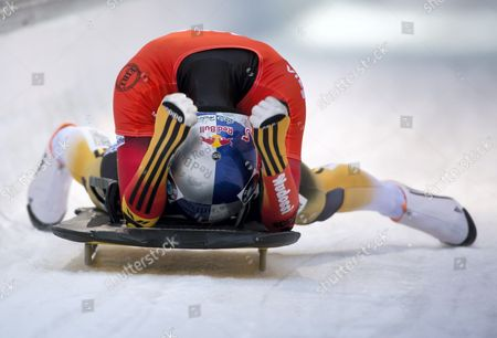 Anja Huber-selbach of Germany Cheers After Coming in Second the Skeleton World Cup at Koenigssee Germany 16 January 2015 Germany Koenigssee