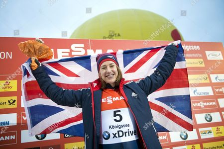 Stock Picture of Elizabeth Yarnold of Great Britain Cheers After Winning the Skeleton World Cup at Koenigssee Germany 16 January 2015 Germany Koenigssee