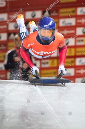 Stock Image of Elizabeth Yarnold of Great Britain in Action During the Skeleton World Cup at Koenigssee Germany 16 January 2015 Germany Koenigssee