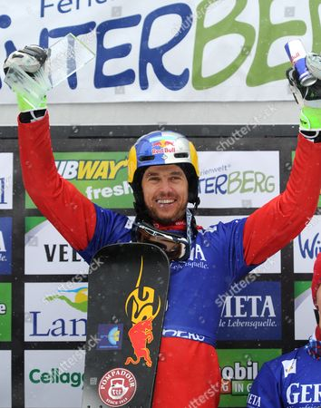 Roland Fischnaller of Italy Celebrates Winning the Men's Parallel Slalom at the Snowboard World Cup in Winterberg Germany 14 March 2015 Germany Winterberg