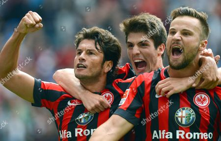 Frankfurt's Nelson Valdez (l-r) Lucas Piazon and Goalscorer Haris Seferovic Celebrate the 1-0 Goal During the German Bundesliga Match Between Eintracht Frankfurt and Scáfreiburg at Commerzbank Arena in Frankfurt Main Germany 23 August 2014 (attention: Due to the Accreditation Guidelines the Dfl Only Permits the Publication and Utilisation of Up to 15 Pictures Per Match on the Internet and in Online Media During the Match ) Germany Frankfurt Main