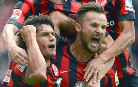 Frankfurt's Nelson Valdez (l) and Goalscorer Haris Seferovic Celebrate the 1-0 Goal During the German Bundesliga Match Between Eintracht Frankfurt and Scáfreiburg at Commerzbank Arena in Frankfurt Main Germany 23 August 2014 (attention: Due to the Accreditation Guidelines the Dfl Only Permits the Publication and Utilisation of Up to 15 Pictures Per Match on the Internet and in Online Media During the Match ) Germany Frankfurt Main