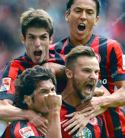 Frankfurt's Nelson Valdez (l-r) Lucas Piazon Goalscorer Haris Seferovic and Makoto Hasebe Celebrate the 1-0 Goal During the German Bundesliga Match Between Eintracht Frankfurt and Scáfreiburg at Commerzbank Arena in Frankfurt Main Germany 23 August (attention: Due to the Accreditation Guidelines the Dfl Only Permits the Publication and Utilisation of Up to 15 Pictures Per Match on the Internet and in Online Media During the Match ) Germany Frankfurt Main