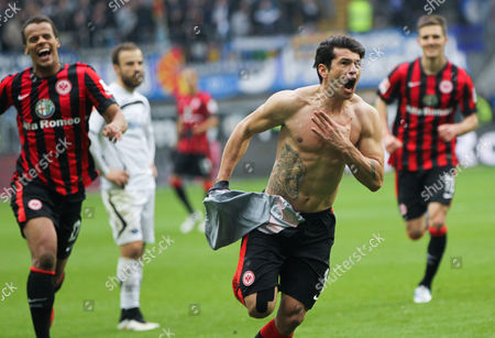 Frankfurt's Nelson Valdez (front) Returning After a Lengthy Period of Injury Celebrates After Scoring to Make It 4:0 During the German Bundesliga Soccer Match Between Eintracht Frankfurt and Sc Paderborn 07 in the Commerzbank Arena in Frankfurt Am Main ágermany 14 March 2015 (embargoáconditions - Attention - Due to the Accreditation Guidelines the Dfláonly Permits the Publication and Utilisation of Up to 15 Pictures Per Match on the Internet and in Online Media During the Match) Epa/frank Rumpenhorst Germany Frankfurt/main