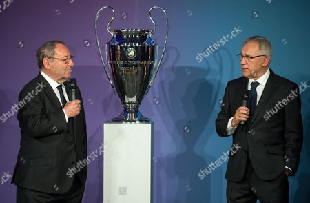 Stock Picture of Former Spanish Soccer Players Francisco Gento (l) and Amancio Amaro Varelathe Stand Next to the Champions League Trophy of the Men's Competition in the Red Town Hall in Berlin Germany 27 April 2015 the Trophies of the Men's and Women's Champions League Were Handed Over to the City of Berlin Prior to the Men's Final (06 June)áand the Women's Final (14 May) Germany Berlin