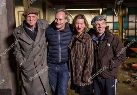 (l-r) German Actors Ulrich Tukur Wolfram Koch Margarita Broich and Martin Wuttke Attend a Press Meeting at the Shooting of a New Episode of the Crime Series 'Tatort' in Heusenstamm ágermany 02 December 2014 the Working Title of the New Production is 'Wer Bin Ich?' (lit : who Am I?) Germany Heusenstamm