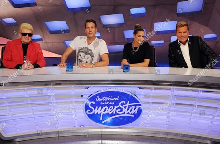 The Judges of the the New Season of the Tv Talent Showá'deutschland Sucht Den Superstar'á(german Searches the Superstar) German Singer Heino (l-r) Swiss Dj Antoine German Singer Mandy Grace Capristo and German Musician Dieter Bohlen Are Introduced by Tv Broadcaster Rtl in Cologne ágermany 07áoctober 2014 Casting For the 12th Season Will Start Beginning of 2015 Germany Cologne