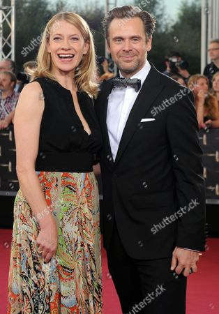 German Actress Caroline Peters (l) and Compatriot Actor Matthias Matschke (r) Arrive to the German Televisionáaward Ceremony in Cologne Germany 02 October 2014 Germany Cologne